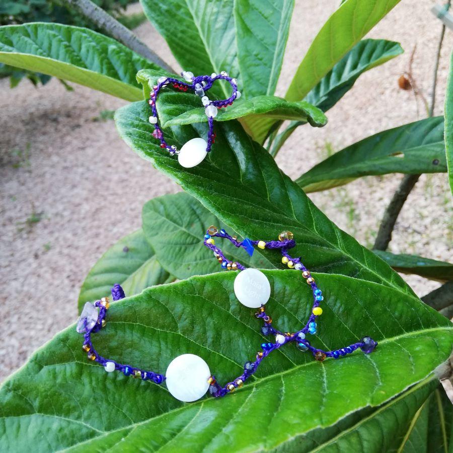braccialetti cuoio viola pietre tanti colori
