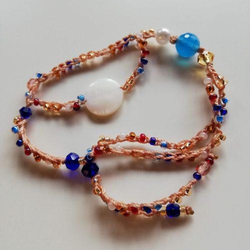 braccialetto doppio filo rosa carne pietre turchine blu e altri colori