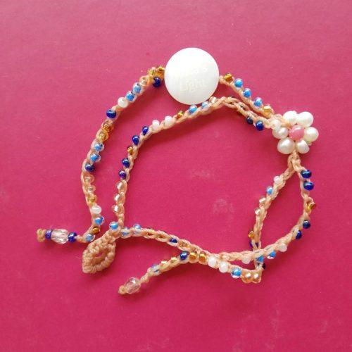 braccialetto doppio fiore bianco