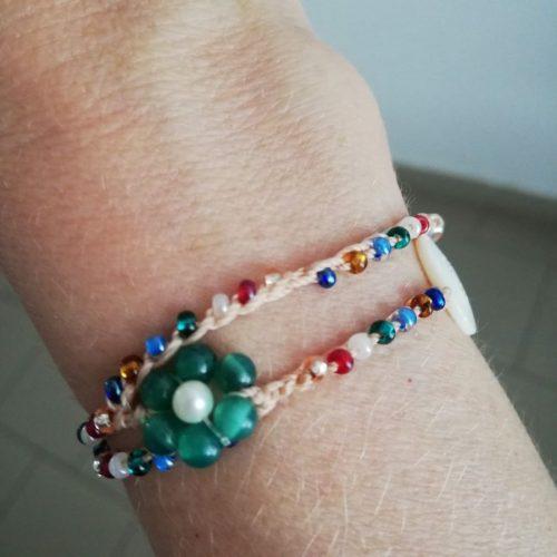 braccialetto doppio fiore verde