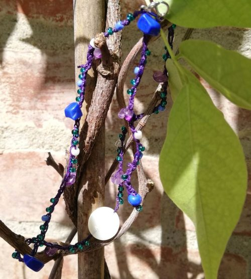 choker pietre viola blu