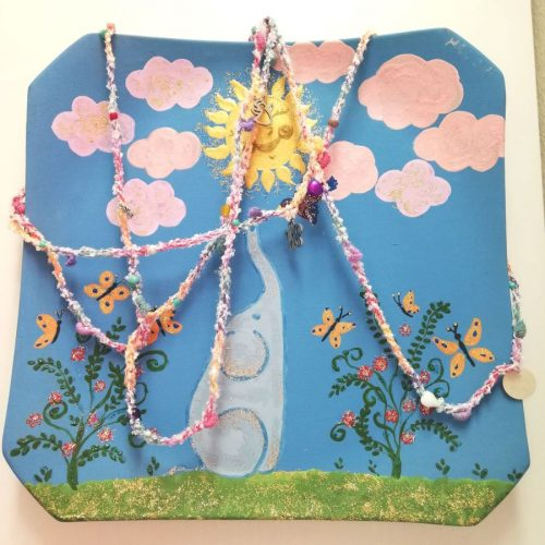 collana variopinta con charm angelo fiore ape