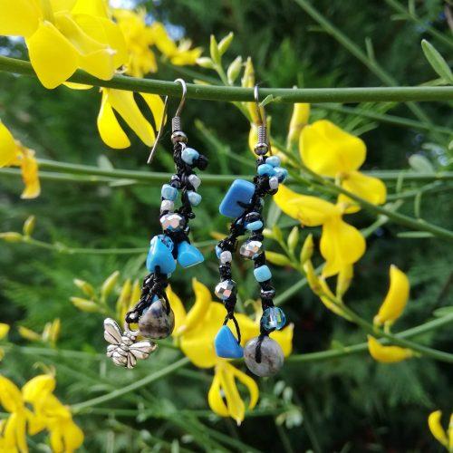orecchini pietre azzurre e ape
