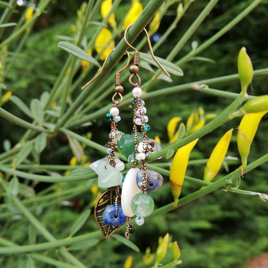 orecchini foglia pietre blu verdi