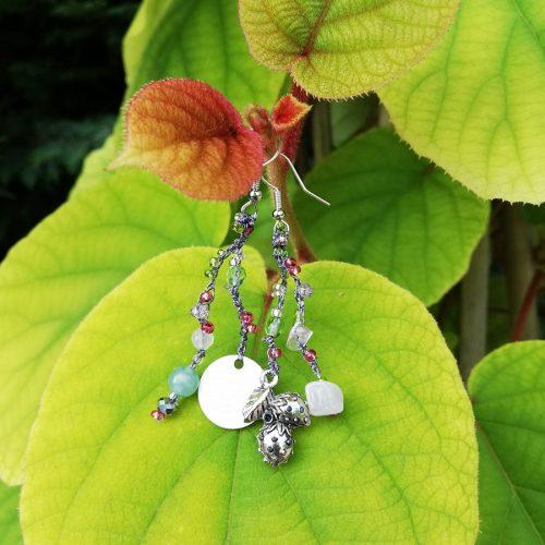 orecchini argento ciondolo fragola pietre rosa e verdi